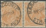 SG 103a ACSC 126d. KGV Head 5d Brown pair (AHSUP/1227)
